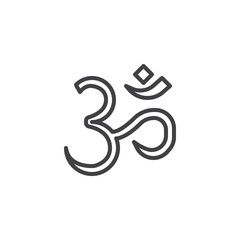 Om Aum outline icon. linear style sign for mobile concept and web design. religion simple line vector icon. Hinduism symbol, logo illustration. Pixel perfect vector graphics