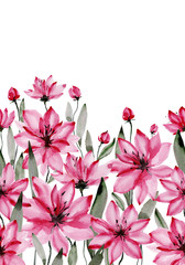 Beautiful pink flowers with green stems and leaves on white background. Seamless floral pattern. Watercolor painting. Hand painted botanical illustration.