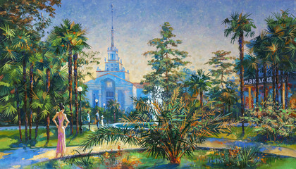 Green park near the seaport of Sochi. Landscape in the center of the city. Painting: canvas, oil. Author: Nikolay Sivenkov.