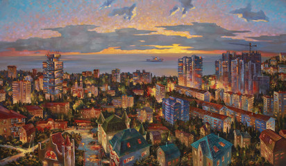 An oil painting on canvas. Evening lights of Mamayka district. A view from my studio, architectural landscape of the beloved city of Sochi. Author: Nikolay Sivenkov.