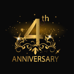 4th anniversary logo with gold color