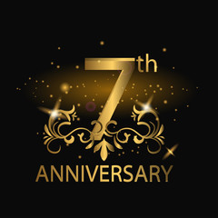 7th anniversary logo with gold color