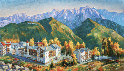 Autumn in the mountains of Krasnaya Polyana. Mountain landscape of the ski resort of Rosa Khutor. Painting: canvas, oil. Author: Nikolay Sivenkov.