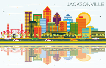 Jacksonville Florida Skyline with Color Buildings, Blue Sky and Reflections.