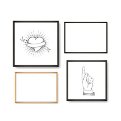 Set of Realistic Light and Dark Wooden Picture Frames on a White Wall with posters heart and pointing finger.
