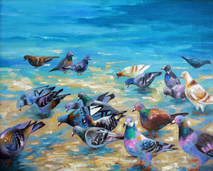 An oil painting on canvas. Beach pigeons on the Black Sea coast. Author: Nikolay Sivenkov