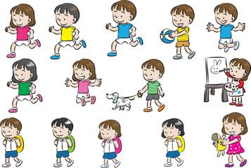 school boys and girls cartoon vector set