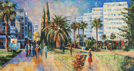 People on the streets of Sochi. Artistic work in bright and juicy colors. Painting: canvas, oil. Author: Nikolay Sivenkov.