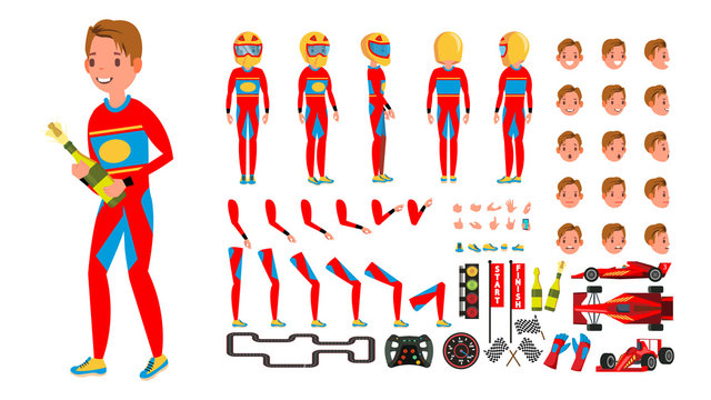 Sport Car Racer Male Vector. Red Uniform. Rally Race Car Driver. Animated Character Creation Set. Man Full Length, Front, Side, Back View. Auto Drawing Accessories, Emotions, Gestures. Illustration