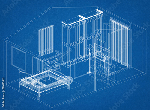 bedroom design architect blueprint stock photo and royalty free