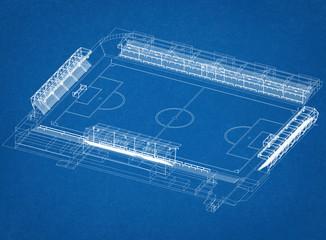 Soccer Stadium Design Architect Blueprint