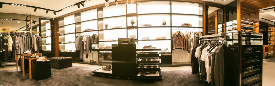 A luxury store with men clothing.
