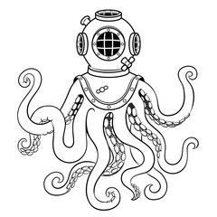 Octopus and old diver helmet coloring vector