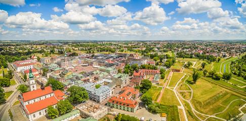 Zamość - Panorama z lotu ptaka z widokiem na stare miasto.