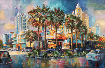 Street after rain. Architectural landscape of the beloved city of Sochi. Painting: canvas, oil. Author: Nikolay Sivenkov.