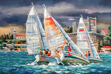 An oil painting on canvas. Regatta on the background of the city of Sochi on a cloudy day. Author: Nikolay Sivenkov.