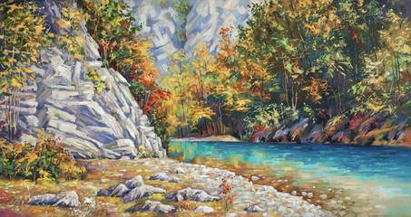 Late autumn on the river Khosta. Mountain landscape of Sochi national park. Painting: canvas, oil. Author: Nikolay Sivenkov.