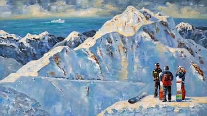 Painting. Snowboarders at the ski resort of Rosa Khutor, near Sochi, Russia. Author: Nikolay Sivenkov.