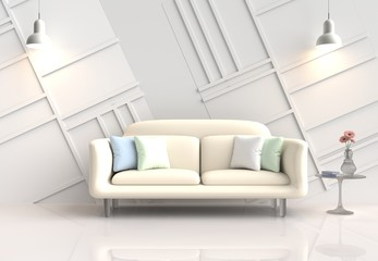 White room decor with yellow-cream sofa, pink flower in glass vase, green and white pillows, lamp, White cement wall it is pattern, white cement floor.The sun shines through the window. 3d render.
