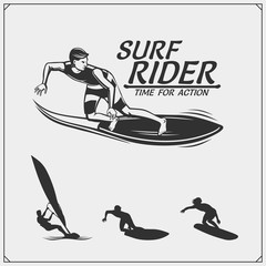 Set of surfing emblems, labels and badges. Surf design elements.