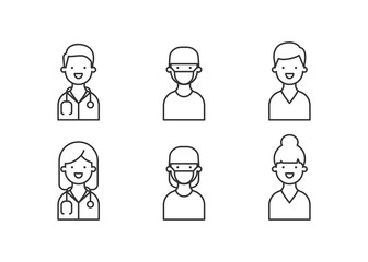Physician, doctor, medic set of icons, male and female characters