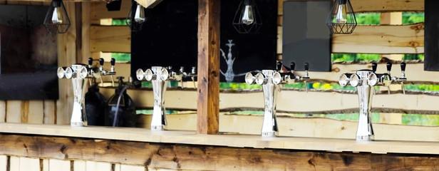 Metal beer cooler in the shop