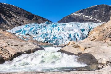 Nigardsbreen. A glacier arm of the large Jostedalsbreen glacier. Jostedal, Norway.