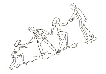 Teamwork Concept Outline. Business People Climbing Together in Mountain Continuous Line Art. Partnership, Motivation Concept. Vector illustration