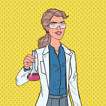 Pop Art Woman Scientist with Flask. Female Laboratory Researcher. Chemistry Pharmacology Concept. Vector illustration