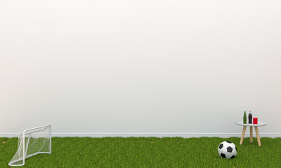 ball and goal net on grass in white room and blank space for mockup, 3D rendering