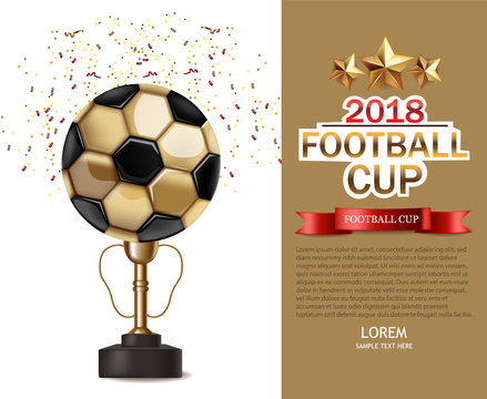 Golden cup and soccer ball Vector realistic. Football finals Competition. Mock up design 3d Flyer template golden backgrounds