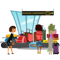 Airport conveyor belt with passengers take luggage bags vector illustration. Man and woman taking baggage and suitcase transportation in terminal after arrival, vacation traveling concept