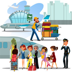 People climb ladder aboard plane, landing men and women on airplane at airport vector illustration, passengers with bags suitcase sut go up stairs to aircraft, Man carries trolley luggage for loading