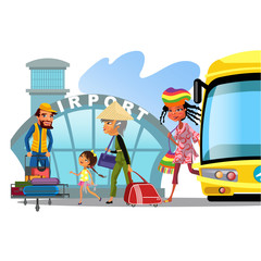 airport transfer, public transport like bus, happy multinational family mother with kids kepp his luggage for transportation vector illustration