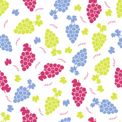 Seamless pattern with colorful grapes on the white background.