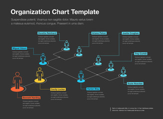Simple company organization hierarchy chart template with place for your content - dark version. Easy to use for your website or presentation.