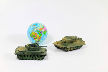 Toys Tank plastic as World War on white background, War, fight army soldier tank Sample picture or War scenario concept