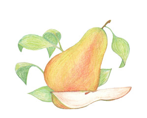 Whole pear and pear slice