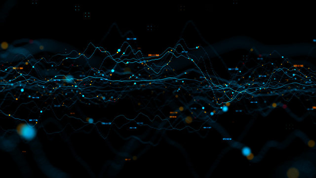 3d render abstract background with graph made of dot particles. Finance graph with details. Complex repeatable graphs..