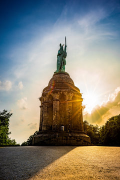 The Hermannsdenkmal in Germany at sunset
