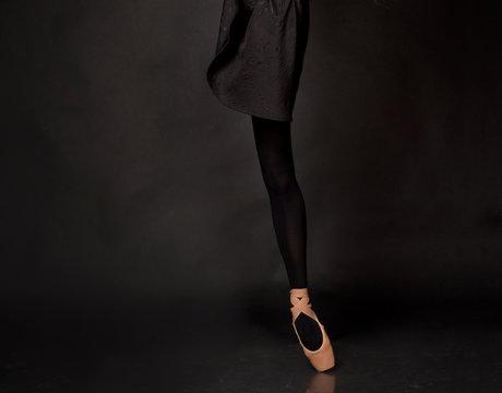 Close up legs of ballerina
