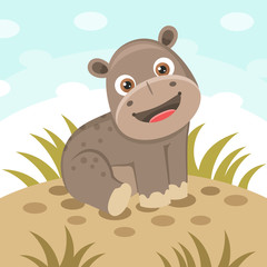 Cheerful hippo character
