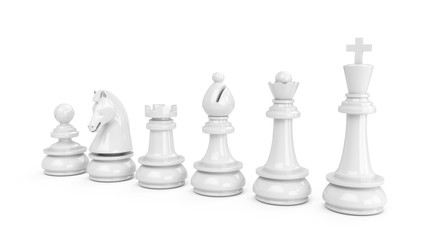 3D Rendering White chess pieces isolated on white background