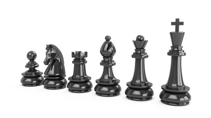 3D Rendering Black chess pieces isolated on white background