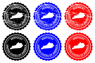 Kentucky - rubber stamp - vector, Kentucky (United States of America) map pattern - sticker - black, blue and red