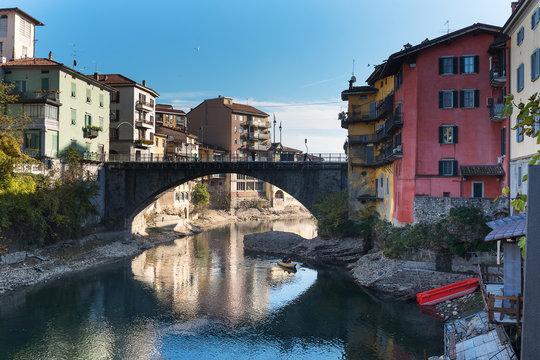 Brembo river in Bergamo, Italy.
