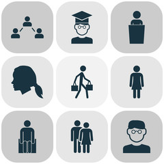 Human icons set with smart man, student, social relations and other human