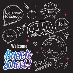 Welcome Back to school Vector hand draw set elements on black chalk board.