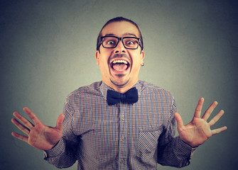 Thrilled crazy man excited with success