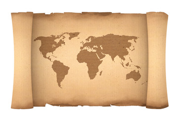 Old Paper Scroll Parchment with World Map. 3d Rendering